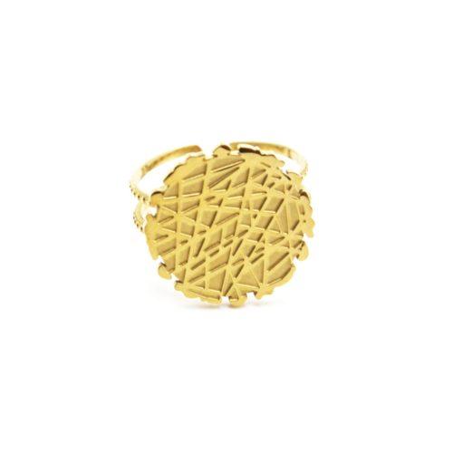 Bague-Anneau-Ajoure-avec-Medaille-Relief-Motif-Rayures-Acier-Dore