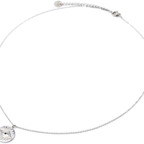 Collier-Fine-Chaine-avec-Pendentif-Medaille-Gravee-Motif-Oeil-Acier-Argente