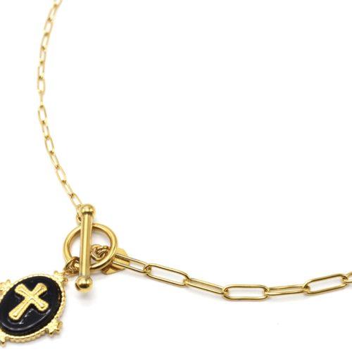 Collier-Chaine-Maillons-Mixtes-avec-Fermoir-T-et-Medaille-Pierre-Noire-Croix-Acier-Dore