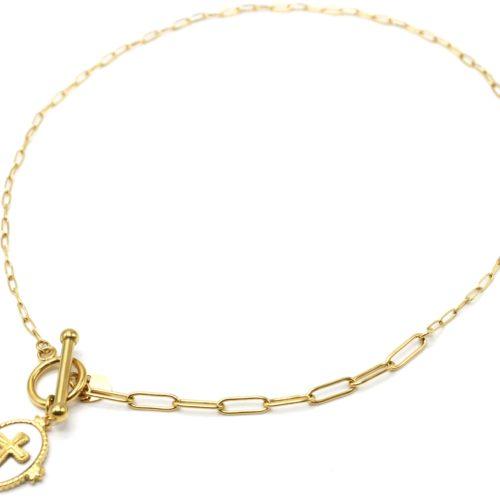 Collier-Chaine-Maillons-Mixtes-avec-Fermoir-T-et-Medaille-Pierre-Blanche-Croix-Acier-Dore