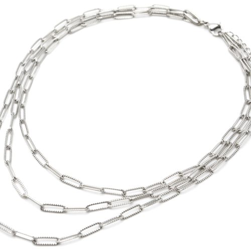 Collier-Triple-Chaines-Maillons-Rectangles-Relief-Pave-Acier-Argente