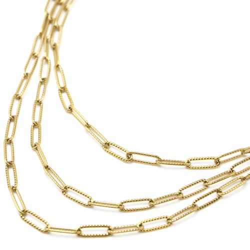 Collier-Triple-Chaines-Maillons-Rectangles-Relief-Pave-Acier-Dore