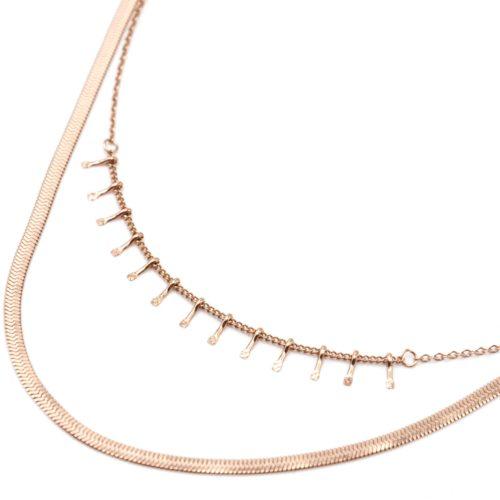 Collier-Double-avec-Pampilles-Carreaux-et-Chaine-Serpent-Acier-Or-Rose