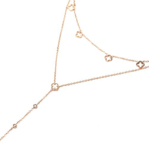 Collier-Double-Chaines-Pampilles-Trefles-Ajoures-Acier-Or-Rose-Nacre-et-Pierres