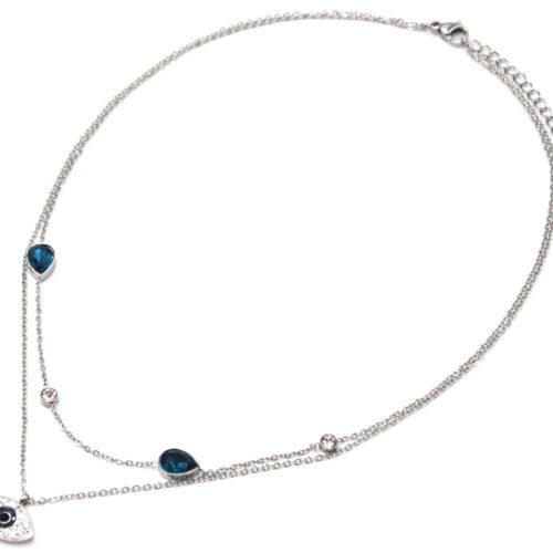 Collier-Double-Chaines-Acier-Argente-Pendentif-Oeil-Strass-et-Pierres-Gouttes-Bleues