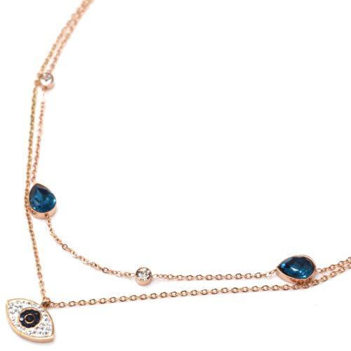 Collier-Double-Chaines-Acier-Or-Rose-Pendentif-Oeil-Strass-et-Pierres-Gouttes-Bleues