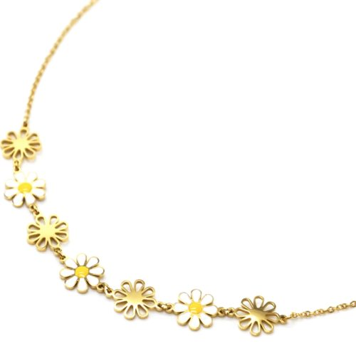 Collier-Fine-Chaine-Pendentif-Marguerites-Email-Blanc-Jaune-et-Acier-Dore