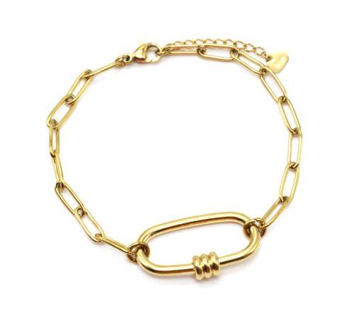 Bracelet-Chaine-Maillons-avec-Ovale-Anneaux-Acier-Dore