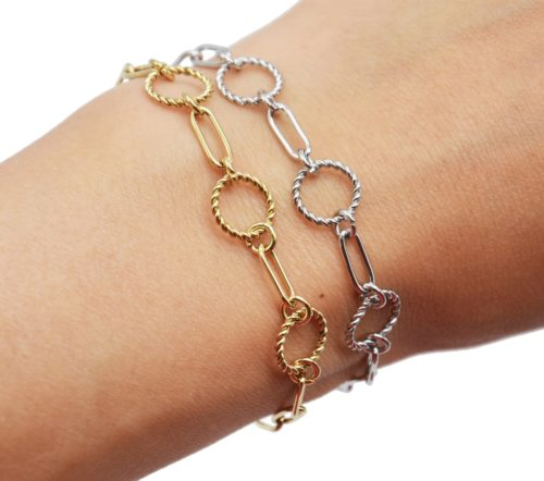 Bracelet-Chaine-Maillons-avec-Cercles-Contour-Torsade-Acier