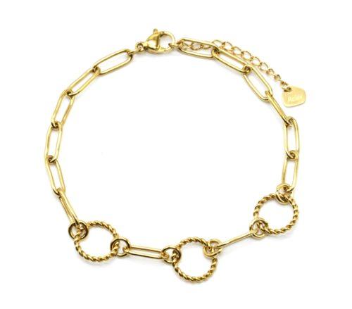 Bracelet-Chaine-Maillons-avec-Cercles-Contour-Torsade-Acier-Dore