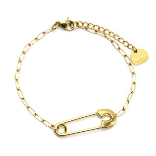 Bracelet-Chaine-Maillons-avec-Epingle-a-Nourrice-Acier-Dore