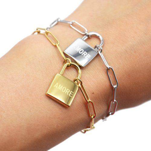 Bracelet-Chaine-Maillons-avec-Cadenas-Amore-Acier