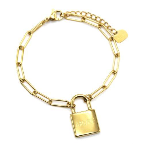 Bracelet-Chaine-Maillons-avec-Cadenas-Amore-Acier-Dore