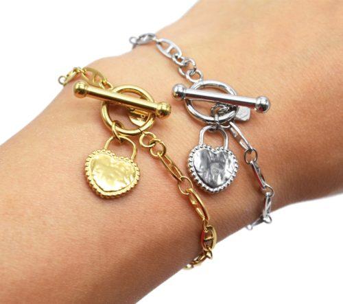 Bracelet-Chaine-Maillons-Plats-Fermoir-T-avec-Coeur-Cadenas-Martele-Acier