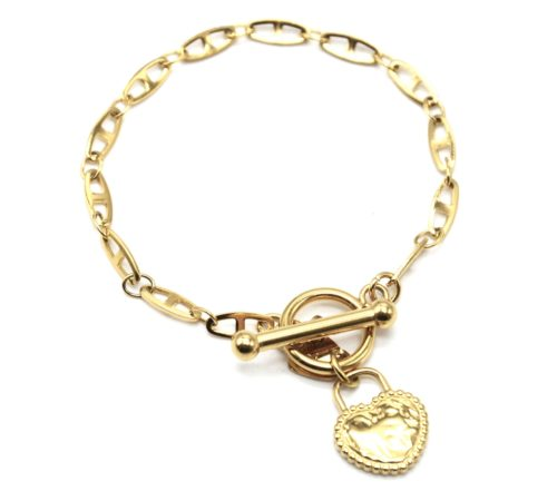 Bracelet-Chaine-Maillons-Plats-Fermoir-T-avec-Coeur-Cadenas-Martele-Acier-Dore
