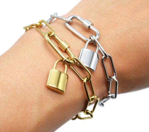 Bracelet-Chaine-Gros-Maillons-avec-Pampille-Cadenas-Acier