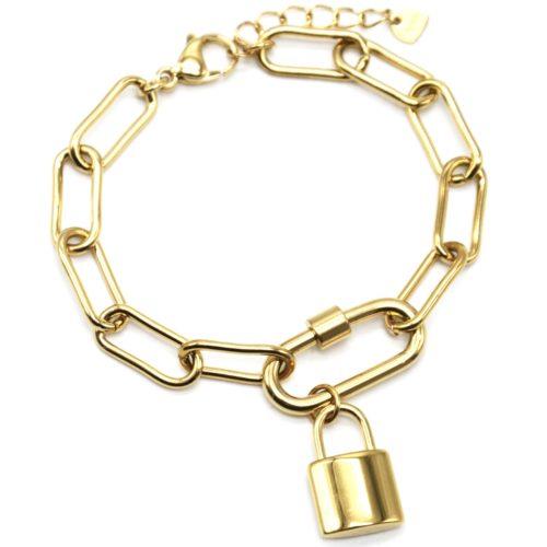 Bracelet-Chaine-Gros-Maillons-avec-Pampille-Cadenas-Acier-Dore