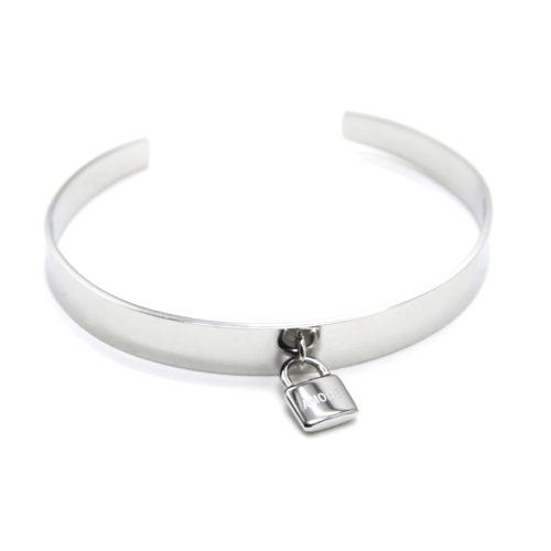 Bracelet-Jonc-Ouvert-avec-Pampille-Cadenas-Amore-Acier-Argente