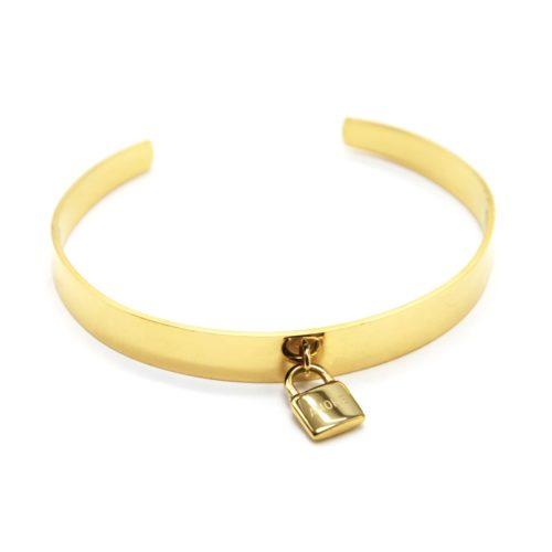 Bracelet-Jonc-Ouvert-avec-Pampille-Cadenas-Amore-Acier-Dore