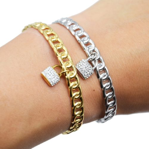 Bracelet-Jonc-Ouvert-Maillons-avec-Pampille-Cadenas-Strass-Acier