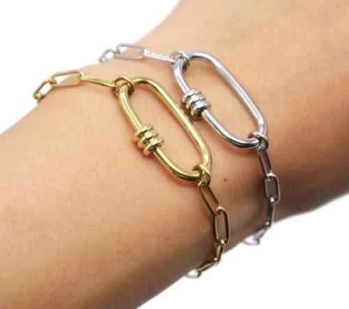 Bracelet-Chaine-Maillons-avec-Ovale-Anneaux-Acier