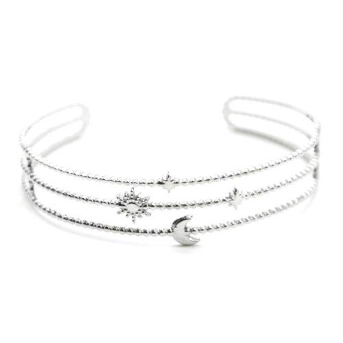 Bracelet-Manchette-3-Rangs-Billes-Soleil-Lune-et-Etoiles-Acier-Argente