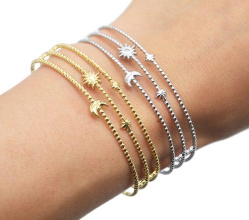 Bracelet-Manchette-Triple-Rangs-Billes-Soleil-Lune-et-Etoiles-Acier