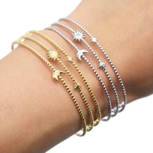 Bracelet-Manchette-3-Rangs-Billes-Soleil-Lune-et-Etoiles-Acier