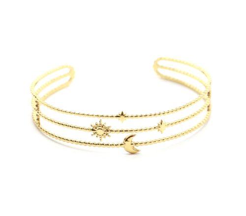 Bracelet-Manchette-Triple-Rangs-Billes-Soleil-Lune-et-Etoiles-Acier-Dore