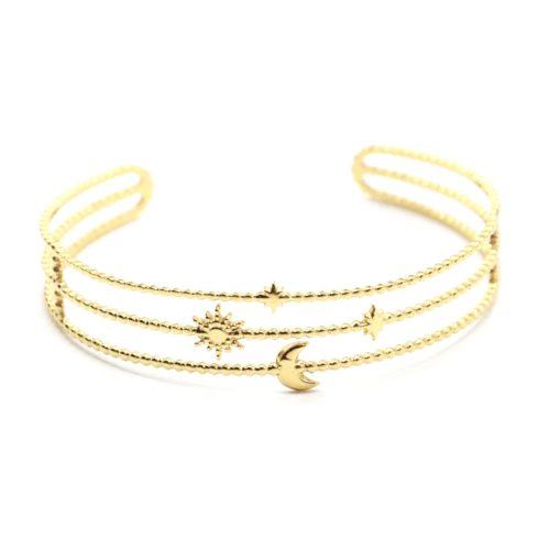 Bracelet-Manchette-3-Rangs-Billes-Soleil-Lune-et-Etoiles-Acier-Dore