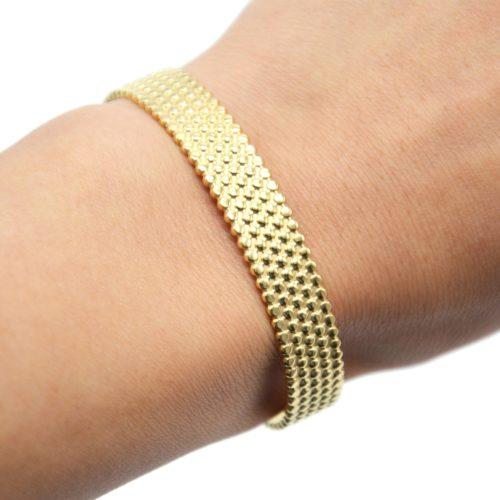 Bracelet-Manchette-Motif-Points-Relief-Acier-Dore
