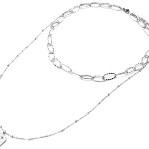 Collier-Double-Chaines-Maillons-et-Pendentif-Medaille-Trefle-Acier-Argente
