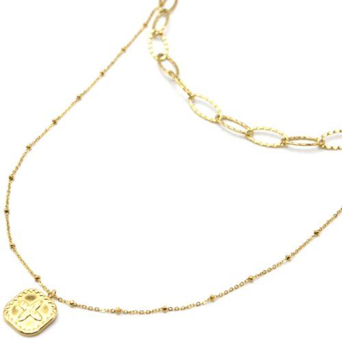 Collier-Double-Chaines-Maillons-et-Pendentif-Medaille-Trefle-Acier-Dore