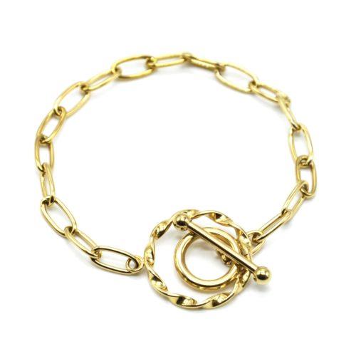 Bracelet-Chaine-Maillons-Fermoir-T-avec-Cercle-Torsade-Acier-Dore