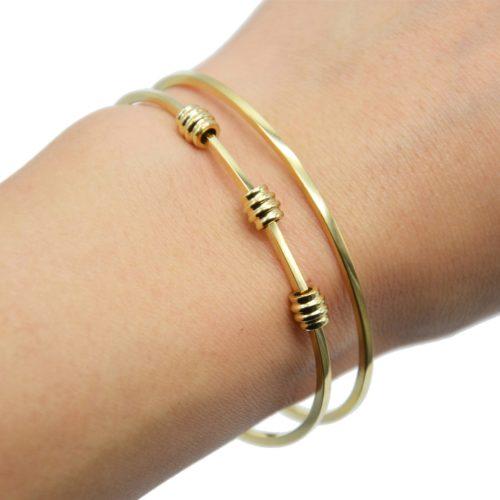 Bracelet-Manchette-2-Rangs-avec-Tubes-Anneaux-Acier-Dore