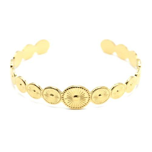 Bracelet-Jonc-avec-Cercles-Motif-Grave-Soleil-Acier-Dore