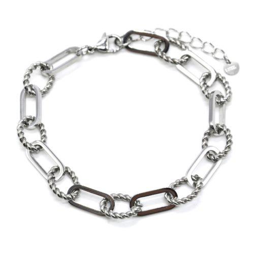 Bracelet-Chaine-Gros-Maillons-Ovales-et-Torsades-Acier-Argente
