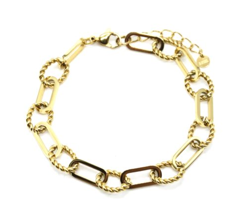 Bracelet-Chaine-Gros-Maillons-Ovales-et-Torsades-Acier-Dore
