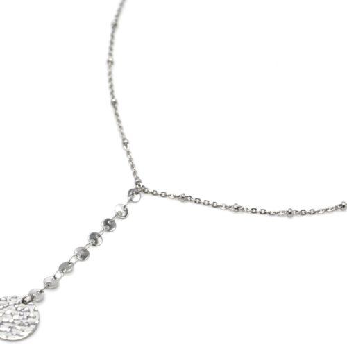 Collier-Chaine-Billes-Pendentif-Y-Cercles-et-Medaille-Martelee-Acier-Argente