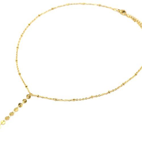 Collier-Chaine-Billes-Pendentif-Y-Cercles-et-Medaille-Martelee-Acier-Dore