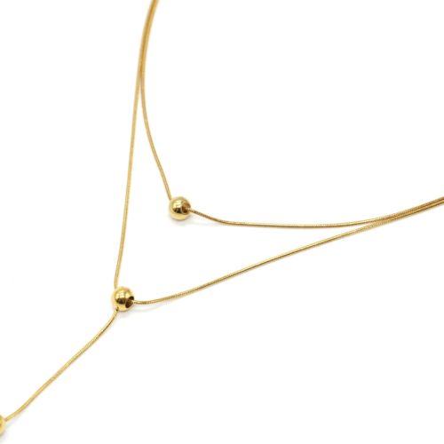Collier-Double-Chaines-avec-Pendentifs-Billes-Acier-Dore