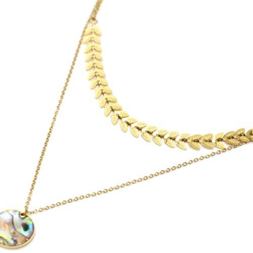 Collier-Double-Chaines-avec-Epis-de-Ble-Acier-Dore-et-Medaille-Nacre