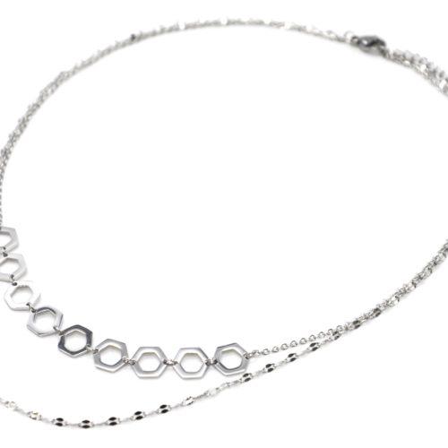 Collier-Double-Chaines-Motifs-Ruche-Acier-Argente