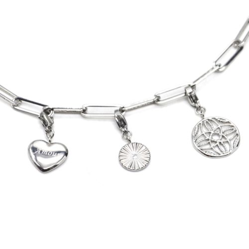 Charms-Coeur-Amour-Medaille-Rayons-Rosace-Acier-Argente