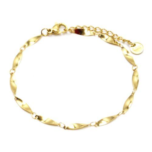 Bracelet-Chaine-Ovales-Effet-Torsade-Acier-Dore