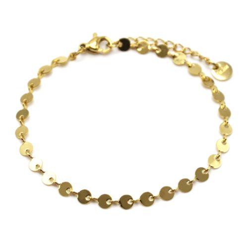 Bracelet-Chaine-Petits-Cercles-Acier-Dore