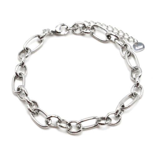 Bracelet-Chaine-Maillons-Assortis-Motif-Acier-Argente