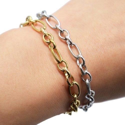 Bracelet-Chaine-Maillons-Assortis-Motif-Acier