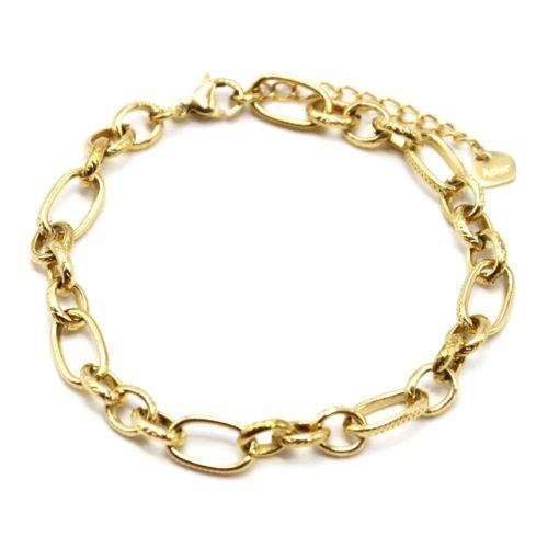 Bracelet-Chaine-Maillons-Assortis-Motif-Acier-Dore