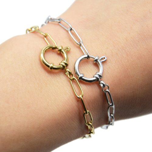Bracelet-Chaine-Maillons-Rectangles-et-Gros-Mousqueton-Acier